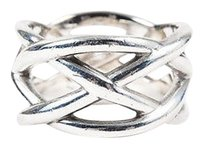 Tiffany & Co. Tiffany Co. Sterling Silver Woven Crisscross Wide Band Ring