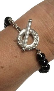 Tiffany & Co. Tiffany Co 925 Sterling Silver Toggle Logo Disc 8 Black Onyx Beaded Bracelet