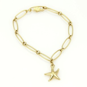 Tiffany & Co. Tiffany Co. Elsa Peretti 18k Ygold Star Fish Charm Oval Link Chain Bracelet