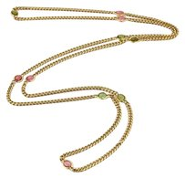Tiffany & Co. Tiffany Co. Green Pink Tourmaline 18k Yellow Gold Long Link Chain Necklace