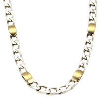 Tiffany & Co. Tiffany Co. Sterling Silver 18k Yellow Gold Accent Curb Link Chain 17.5l