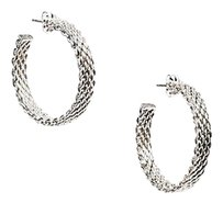 Tiffany & Co. Tiffany Co. Sterling Silver Woven Somerset Hoop Earrings