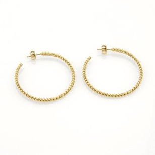Tiffany & Co. Tiffany Co. Italy 18k Yellow Gold Classic Cable Wire Hoop Earrings