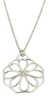 Tiffany & Co. Tiffany Co. Italy 18k White Gold Fancy Diamond Flower Pendant Necklace
