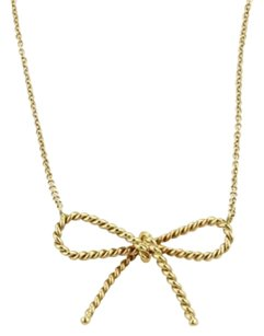 Tiffany & Co. Tiffany Co. 18k Yellow Gold Cable Bow Design Pendant Necklace