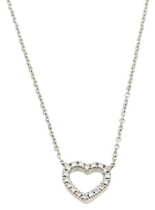Tiffany & Co. Tiffany Co. Metro Diamond 18k White Gold Heart Pendant Chain Necklace