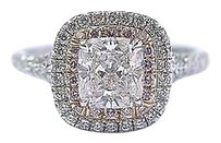 Tiffany & Co. Tiffany Co Platinum Cushion Cut Pink Diamond Soleste Engagement Ring 1.18ct