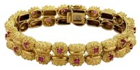 Tiffany & Co. Tiffany Co. 3ct Ruby 18k Yellow Gold Double Coral Style Link Fancy Bracelet