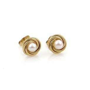 Tiffany & Co. Tiffany Co. 18k Yellow Gold 5mm Pearls Fancy Interlace Stud Earrings