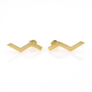Tiffany & Co. Tiffany Co. Paloma Picasso 18kt Yellow Gold Zig Zag Designer Stud Earrings