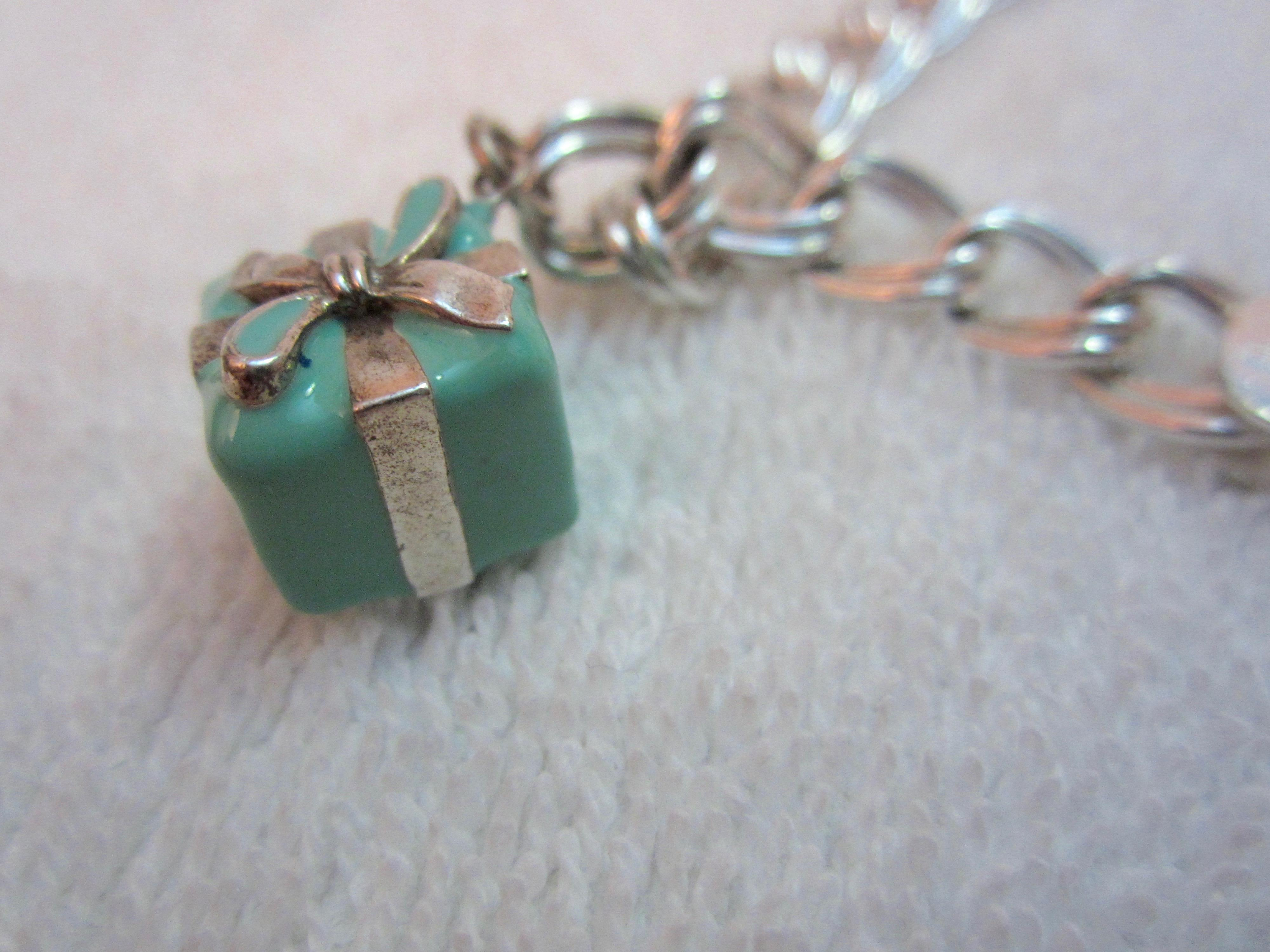 Tiffany Co Silver and Blue Box Charm Bracelet Sterling 925 2