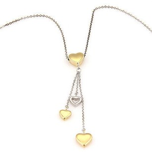 Tiffany & Co. Tiffany Co. 18k Tone Gold Drop Hearts Pendant Necklace