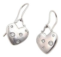 Tiffany & Co. Tiffany Co. 18k White Gold Diamond Heart Dangle Designer Earrings