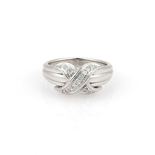 Tiffany & Co. Tiffany Co. 18k White Gold Diamond Signature X Ring
