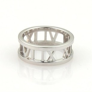 Tiffany & Co. Tiffany Co. 18k White Gold Open Atlas Roman Numeral Band Ring