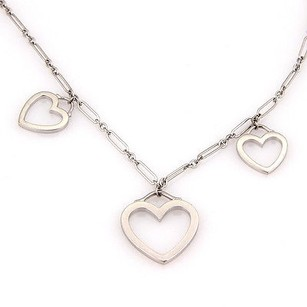 Tiffany & Co. Tiffany Co. 18k White Gold Triple Sentimental Heart Pendant Necklace