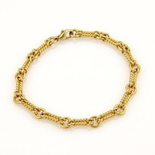 Tiffany & Co. Tiffany Co. 18k Yellow Gold Cable Wire Double Link Bracelet Italy