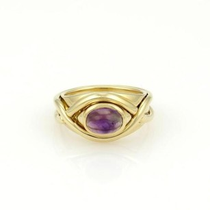 Tiffany & Co. Tiffany Co. 18k Yellow Gold Cabochon Amethyst Crossover Design Ring
