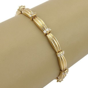 Tiffany & Co. Tiffany Co. 18k Yellow Gold Signature Diamond Link Designer Bracelet W Box