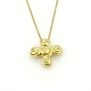 Tiffany & Co. Tiffany Co. 18k Yellow Gold Spiro Swirl Cross Pendant Chain Necklace