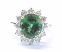 Tiffany & Co. Tiffany Co 18kt Plat Green Tourmaline Diamond Solitaire W Accent Ring 4.03ct