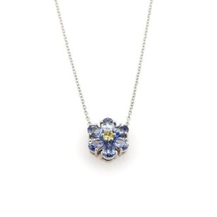 Tiffany & Co. Tiffany Co. 2ct Yellow Blue Sapphire Platinum Floral Pendant Necklace