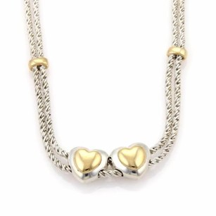 Tiffany & Co. Tiffany Co. 925 Silver 18k Gold Double Hearts Chain Slide Pendant Necklace