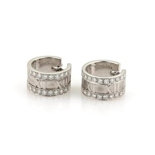 Tiffany & Co. Tiffany Co. Atlas 1ct Diamond 18k White Gold Roman Number Huggie Earrings