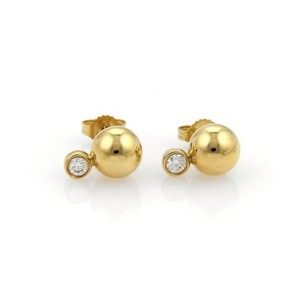 Tiffany & Co. Tiffany Co. Ball Earrings With Diamonds In 18k Yellow Gold