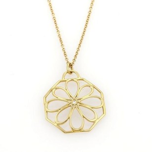 Tiffany & Co. Tiffany Co. Diamond 18k Yellow Gold Daisy Pendant Chain Necklace