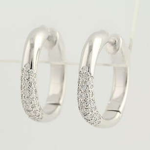 Tiffany & Co. Tiffany Co. Diamond Cushion Hoop Earrings - 18k White Gold Pierced .52ctw