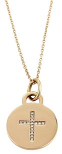 Tiffany & Co. Tiffany Co. Diamonds 18k Rose Gold Round Pendant Cross Necklace
