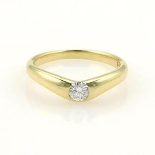 Tiffany & Co. Tiffany Co. Elsa Peretti Diamond 18k Yellow Gold V Shape Band Ring