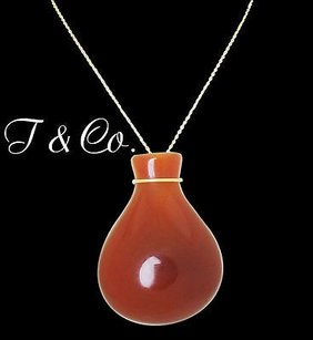 Tiffany & Co. Tiffany Co. Elsa Peretti Jasper Bottle Jug Pendant On Yellow Gold Chain N335