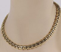 Tiffany & Co. Tiffany Co. Italy 18k Yellow Gold Basket Weave Designer Necklace 16