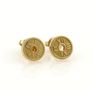 Tiffany & Co. Tiffany Co. Mini Atlas Roman Numeral 18k Yellow Gold Round Stud Earrings