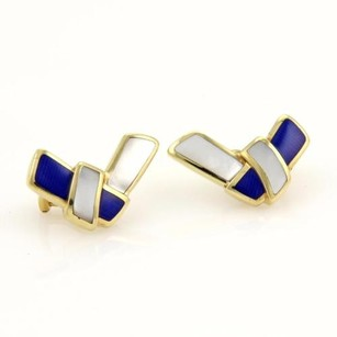 Tiffany & Co. Tiffany Co. Mother Of Pearl Lapis Lazuli 18k Yellow Gold Earrings