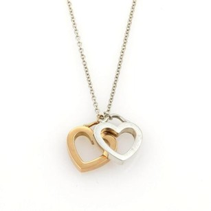 Tiffany & Co. Tiffany Co. Open Double Heart Sterling 18k Rose Gold Pendant Necklace