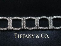 Tiffany & Co. Tiffany Co Platinum 324 Round Diamond Square Bracelet 7 6.00ct