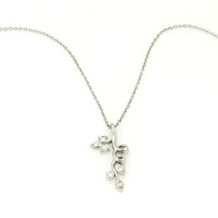 Tiffany & Co. Tiffany Co. Platinum Diamond Floral Vine With Leaves Pendant Necklace