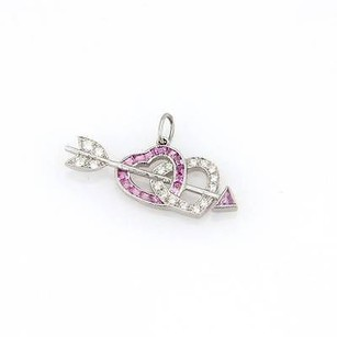 Tiffany & Co. Tiffany Co. Platinum Diamond Pink Sapphire Heart Arrow Pendant