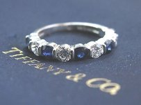 Tiffany & Co. Tiffany Co Platinum Diamond Sapphire Bar Setting Band Ring 9-stone 1.60ct