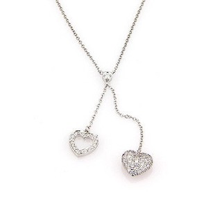 Tiffany & Co. Tiffany Co. Platinum Pave Diamond Double Heart Pendant Dangle Necklace