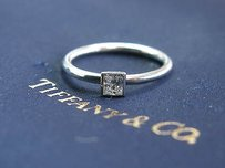 Tiffany & Co. Tiffany Co Platinum Princess Cut Diamond Bezet Set Solitaire Ring .15ct