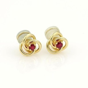 Tiffany & Co. Tiffany Co. Rubies 18k Yellow Gold Love Knot Clip On Earrings