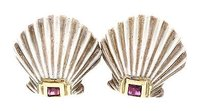 Tiffany & Co. Tiffany Co. Scallopshell Clip On Earrings Sterling Silver 18k Yellow Gold Rub