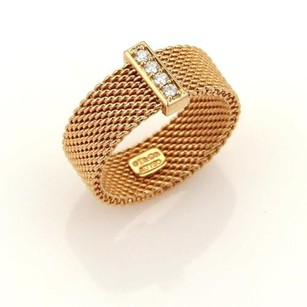 Tiffany & Co. Tiffany Co. Somerset Diamond 18k Rose Gold 17mm Wide Mesh Band Ring -