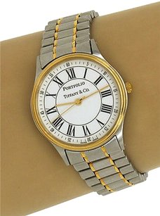 Tiffany & Co. Tiffany Co. Stainless Steel Gold Tone Portfolio Mens Wrist Watch