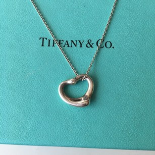 Tiffany & Co. TWO Diamonds front and back Open Heart Necklace POUCH!!