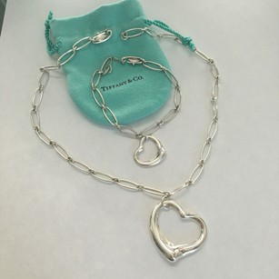 Tiffany & Co. Tiffany Elsa Peretti X LARGE Open Heart Oval Link Necklace Bracelet Set POUCH BOX